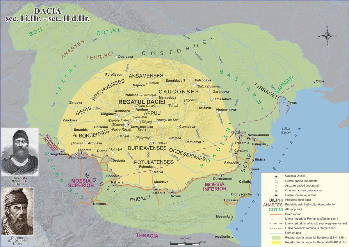 Cu verde: Dacia în vremea lui Burebista Cu galben: Dacia în vremea lui Decebal Sursa imaginii: aici