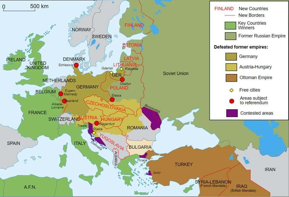 Noile granițe din Europa după Primul Război Mondial