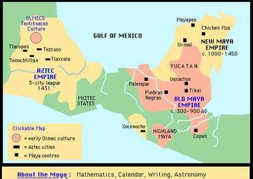 Teritorii aztece și mayașe
