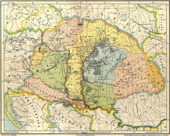 Voievodatele lui Gelu (teritoriul colorat cu roz), Glad (teritoriul colorat cu verde) și Menumorut (teritoriul colorat cu albastru)